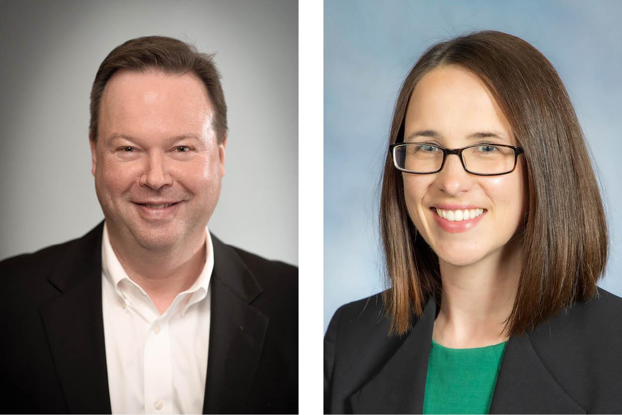 Board of trustee members Jenn Columbus and Mark Zook.