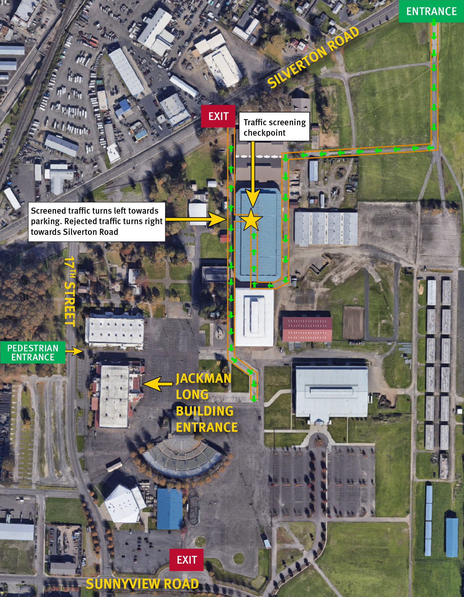 Aerial view of Oregon State Fairgrounds showing entrance and exit for vaccine clinic.