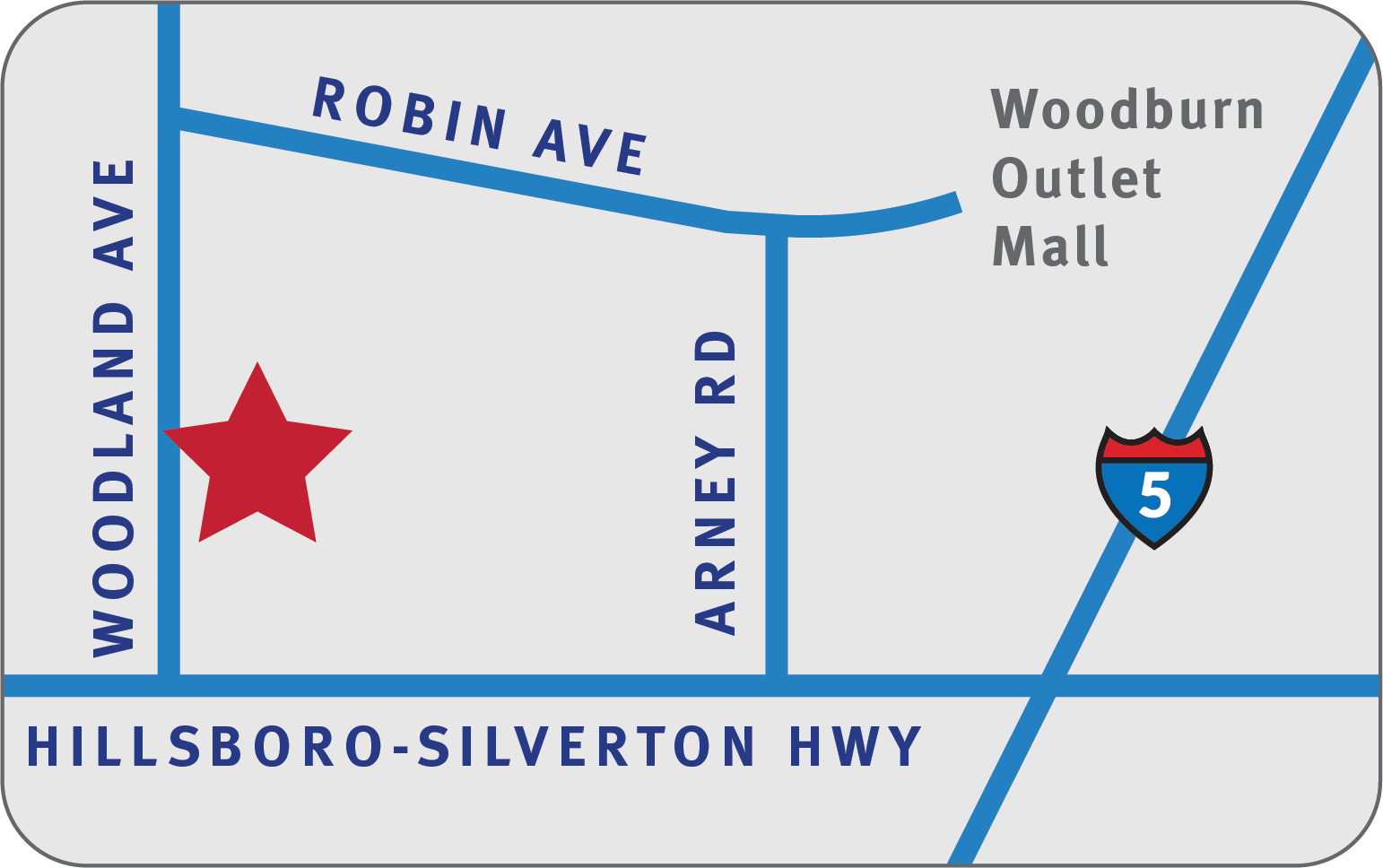 Simple line drawing of Woodburn clinic location.