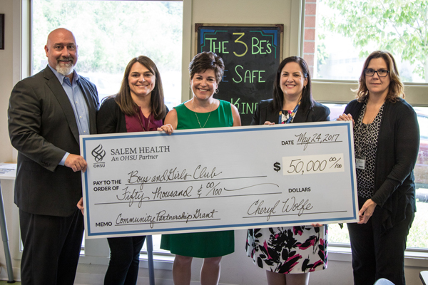 Pictured: (L to R) Justin Martin, BGC Board Chair; Debbie Garvey, BGC Development Director; Sue Bloom, BGC Executive Director; Laurie Barr, Salem Health VP of Human Resources; Sharon Heuer, Salem Health Director of Community Benefit