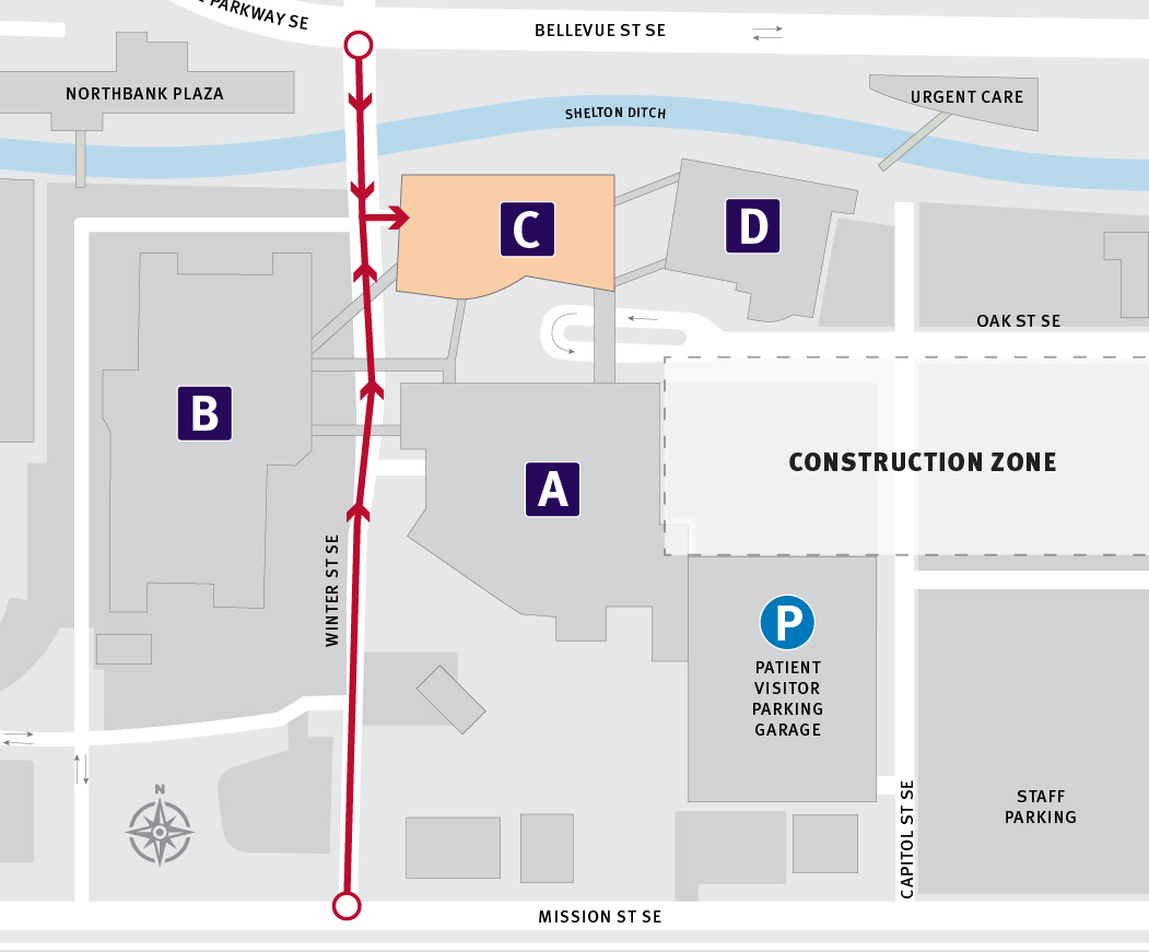 Map of driving directions to the Building C entrance